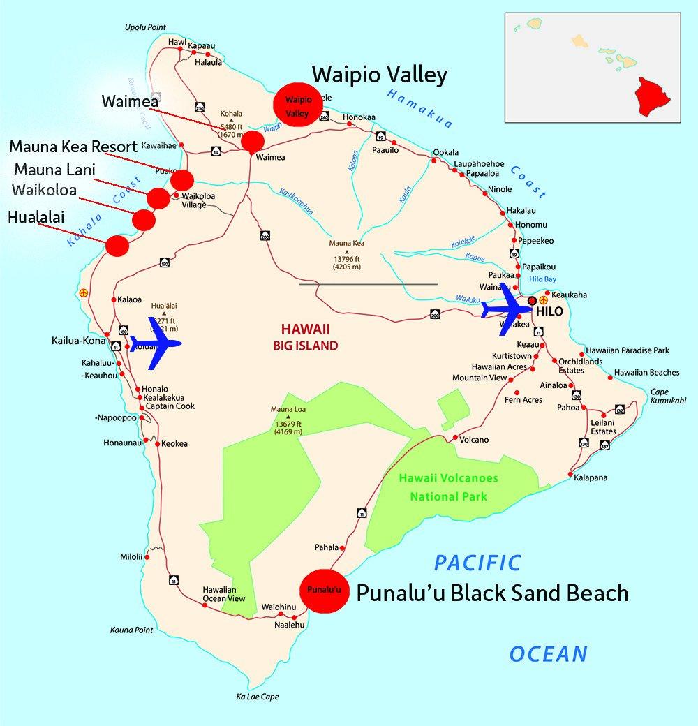 Big Island of Hawaii Map with Resorts