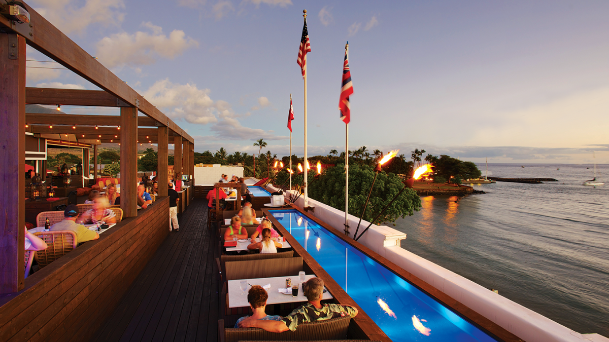 Fleetwood's on Front St. Lahaina Maui Rooftop Bar, Fleetwood's on Front St. Lahaina Maui View, Exotic Estates, Vacation Rental