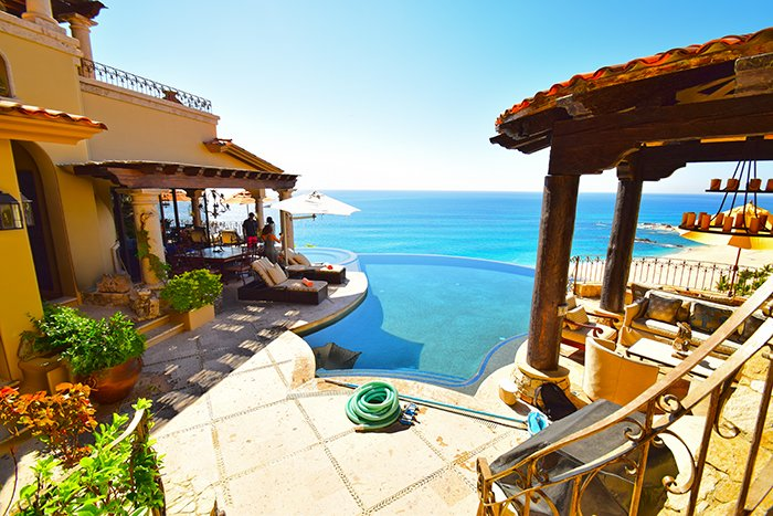 Seaside la Casita Entrance and Pool Area, Cabo Villas, Cabo Villa Inspections, Exotic Estates, Vacation Rentals