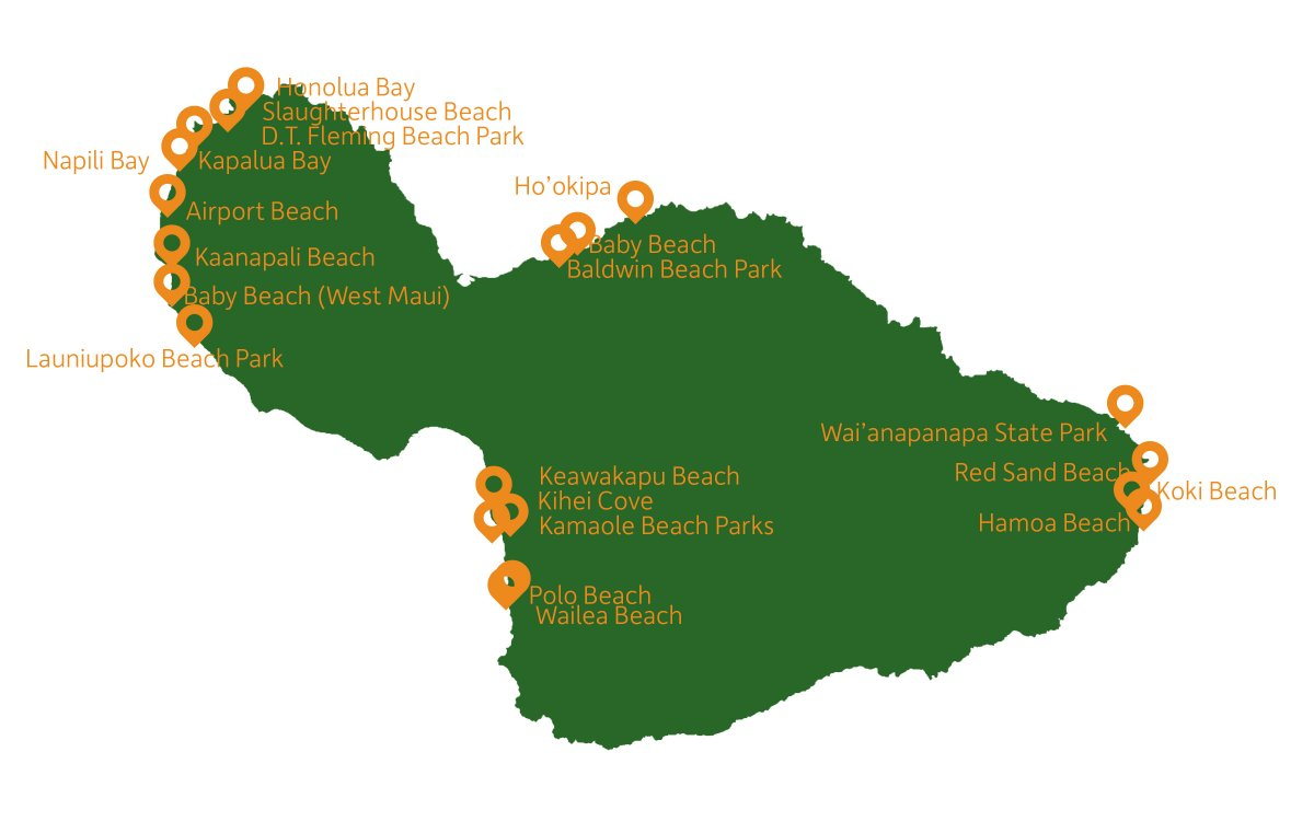 Maui Beach Guide Map