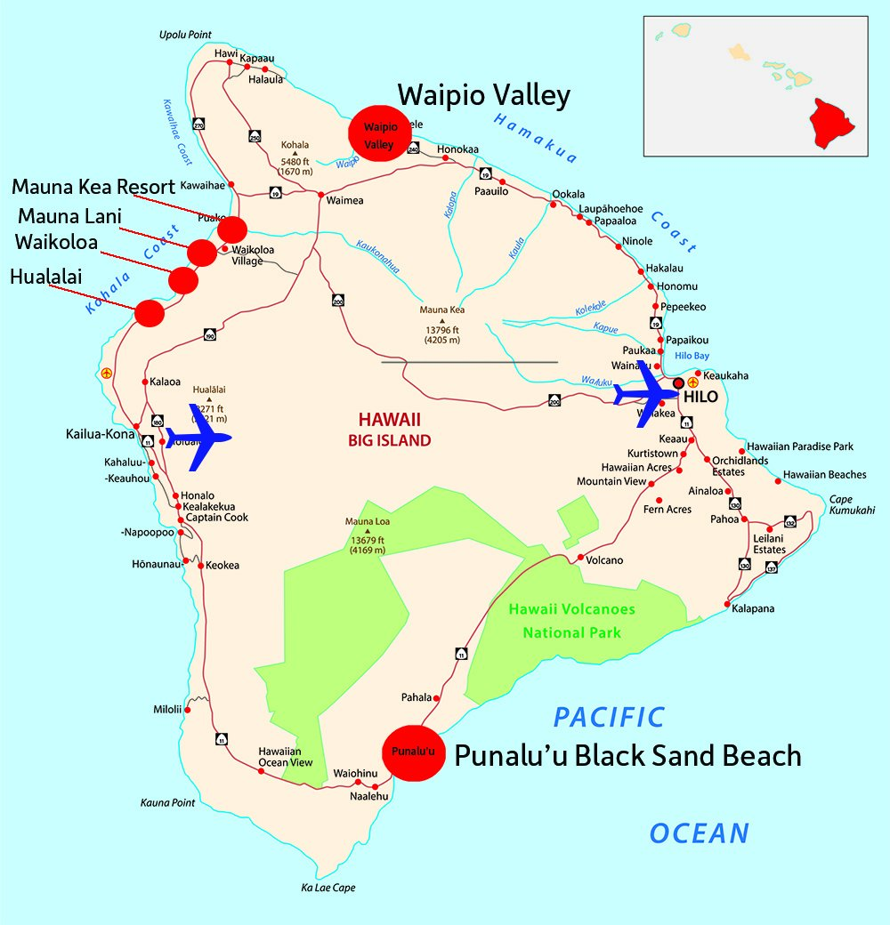 Big Island of Hawaii Map with Resorts and Airports