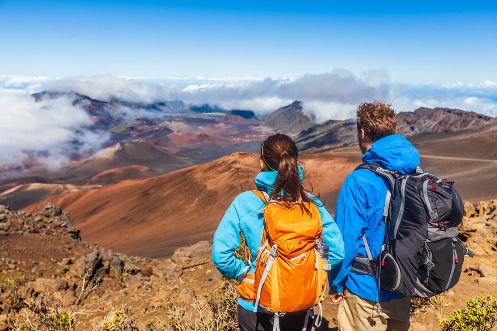 Hikers on Haleakala Crater in Maui, Hawaii.