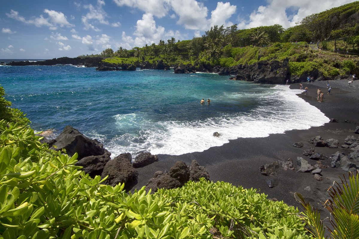 Black-Sand Beach in Hana