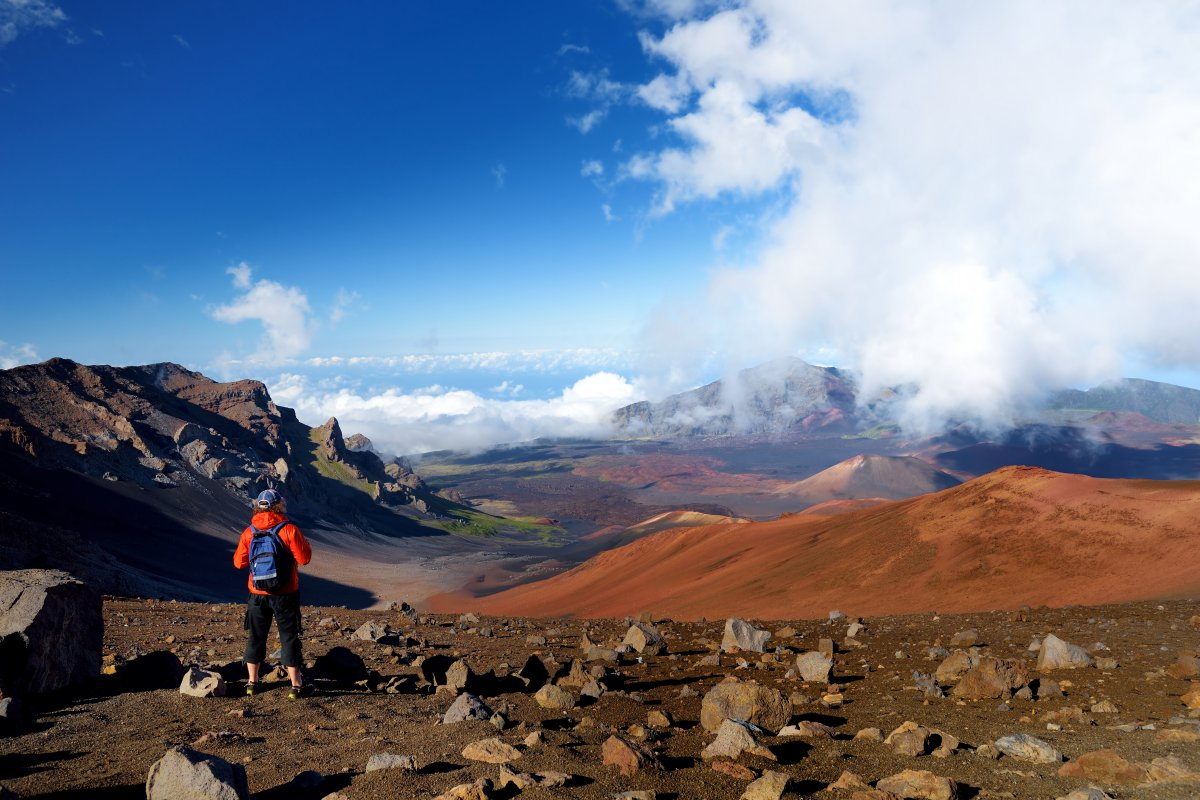 Hiking through Haleakala Crater